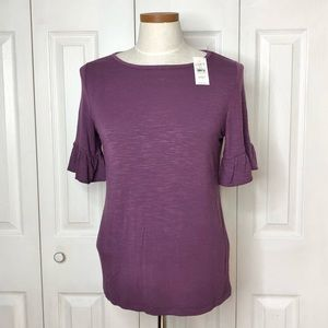 NWT LOFT plum space dyed ruffle sleeve top